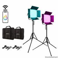Für weitere Info hier klicken. Artikel: Walimex pro LED Rainbow 100W RGBWW Set 2 (2x Rainbow 100W, 2x Lampenstativ GN-806)